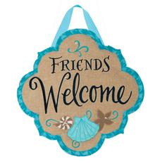 Decorative Hanger Coastal Friends Welcome Shells