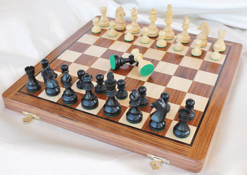"Championship 70mm King Staunton Chess Set in Antique black Boxwood includes a 36cm (14"") Folding Chess Board"