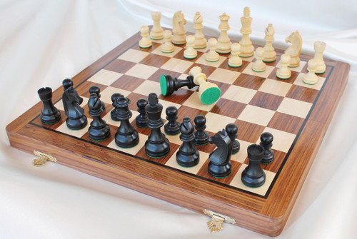 "Championship 82mm King Staunton Chess Set in Antique black Boxwood includes a 36cm (16"") Folding Chess Board"