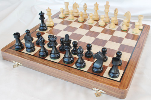 "The Championship Staunton Chess Set with 95mm (3.75"") King in Antique black Boxwood includes a 46cm (18"") Folding Chess Board"