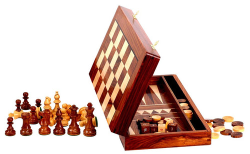 "NEW Backgammon, Checkers and Chess Set with 82mm King includes a 46cm (18"") Folding Chess Board/Backgammon Case"