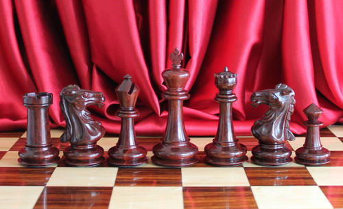 "Templar Knight Staunton Chess Pieces Set in Red Sandal Wood and Ivory Boxwood with 102mm (4.00"") King"