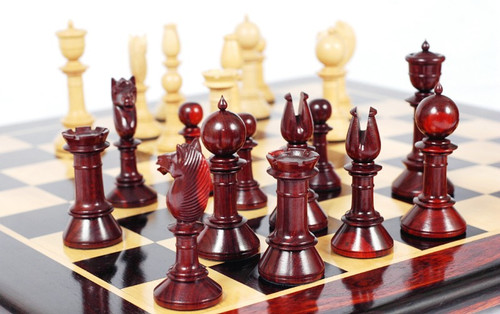 "The Edinburgh Antique Luxury Chess Pieces Set in Red Sandal Wood and Ivory Boxwood with 108mm (4.25"") King"