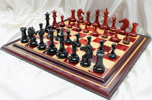 "King Richard ""The Lion Heart"" Staunton Luxury Chess Set with 114mm (4.5"") King in Ebony & African Padauk woods, includes a 56cm (22"") Red Sandal Wood Chess Board & Presentation Case"