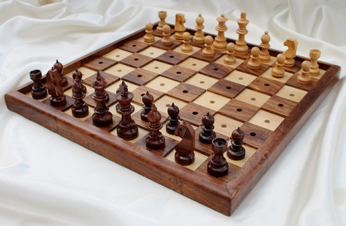 "Chess Set for the Blind or Visually Impaired in Golden Rosewood 33cm (13"")"