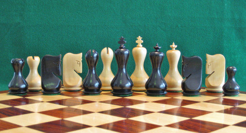 "Antique Modern Repro Hour Glass Chess Pieces Set with 95mm (3.75"") King in Ebonised Boxwood"