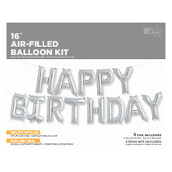 "16"" Happy Birthday Kit - Silver - Air-Filled (CANT FLY)"