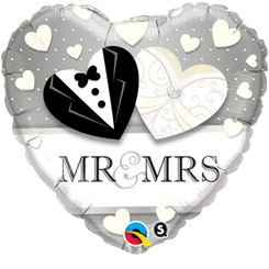 "18"" Mr. & Mrs. Wedding Heart"