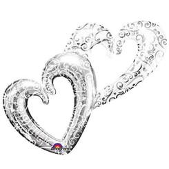 "53"" Silver Double Heart"