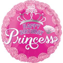 "18"" Princess Crown & Gem HBD"