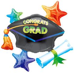 """31"""" Congrats Grad Cap School Colors Cluster"""