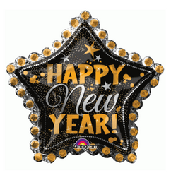 "30"" Happy New Year Dotted Star Foil Balloon"