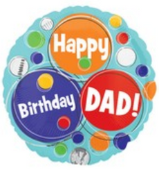 "18"" Dad Happy Happy Birthday Dots"
