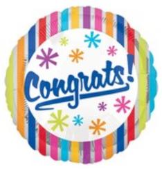 """18"""" Congrats Bright Silver Stripes"""