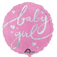 """32"""" Baby Girl Script Jumbo Holographic"""
