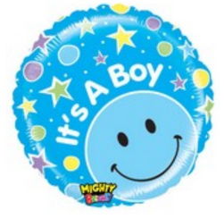 "21"" It's a Boy! Stars Blue Smiley Balloon"