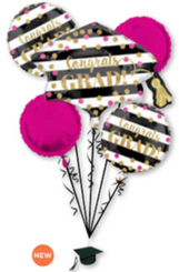 Gold Confetti Grad Bouquet Of Balloons  (A SET OF 5)