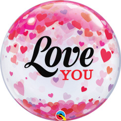 "22"" Love You Confetti Hearts Bubble"