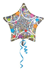 "18"" Holographic Happy Birthday Star"