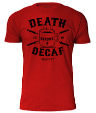 DEATH BEFORE DECAF HEATHER RED & BLACK