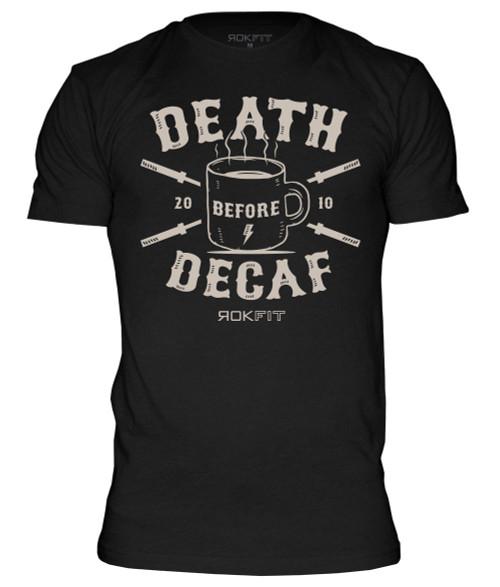 "ROKFIT ""DEATH BEFORE DECAF""BLACK www.battleboxuk.com"