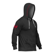 HYLETE stacked sleeve zip hoodie black/shocking red www.battleboxuk.com