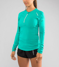 Virus Women's Stay Cool Functional Fit Long Sleeve 1/2 Zip Top (Eco23) Teal www.battleboxuk.com