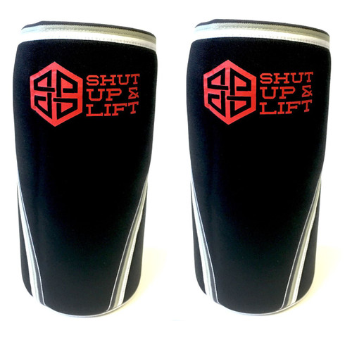 "Battle Box ""SHUT UP & LIFT"" Edition Neoprene Knee Sleeves 5/7mm WWW.BATTLEBOXUK.COM"