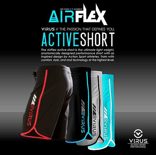 VIRUS MEN'S AIRFLEX TRAINING SHORT (ST1) BK/RD  www.battleboxuk.com