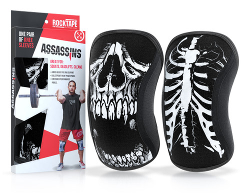 www.BattleBoxUk.com - RockTAPE Assassins® Skull Knee Sleeves - Knee Support & Protection Caps 5mm or 7mm