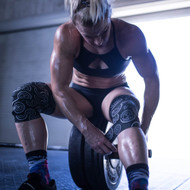 "ExoWraps ""LIFT HEAVY"" Black & White Neoprene Knee Wraps www.battleboxuk.com"