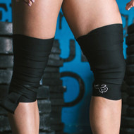 "ExoWraps ""BLACK"" Black & White Weightlifting Neoprene Knee Wraps www.battleboxuk.com"
