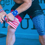 "ExoWraps ""STARS & STRIPES"" Black & White Weightlifting Neoprene Knee Wraps www.battleboxuk.com"