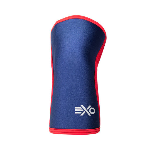 EXO SLEEVES NAVY BLUE & RED - 5MM KNEE SLEEVES Knee Caps Support (PAIR) - www.BattleBoxUk.com