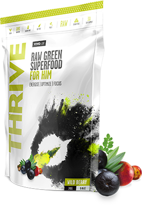 Vivo Life THRIVE HIM Raw Greens Superfood Energise Optimise Focus Paleo www.BattleBoxUk.com