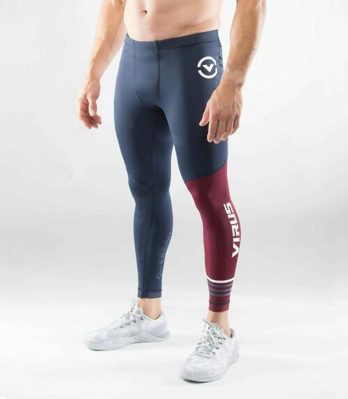 VIRUS MEN'S STAY COOL COMPRESSION PANTS (RX8)- MAROON WWW.BATTLEBOXUK.COM