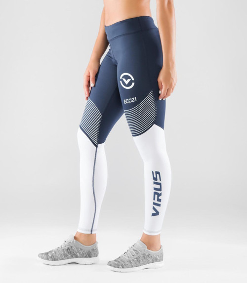 VIRUS WOMEN'S STAY COOL V2 COMPRESSION PANT (ECO21.5)- NAVY/WHITE WWW.BATTLEBOXUK.COM