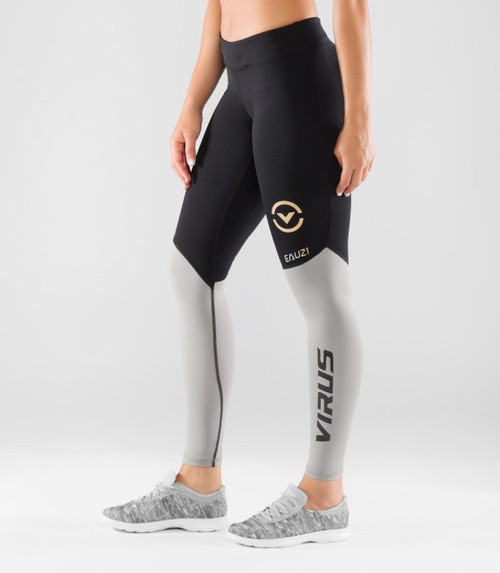 VIRUS WOMEN'S BIOCERAMIC V2 COMPRESSION FULL PANT (EAU21)- BLACK/GREY WWW.BATTLEBOXUK.COM