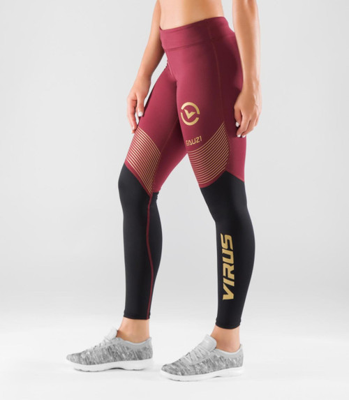 VIRUS WOMEN'S BIOCERAMIC V2 COMPRESSION PANT (EAU21.5) Maroon/Black WWW.BATTLEBOXUK.COM