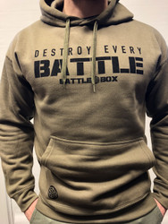 "BattleBox UK™ ""DESTROY EVERY BATTLE"" ARMY GREEN HOODIE"