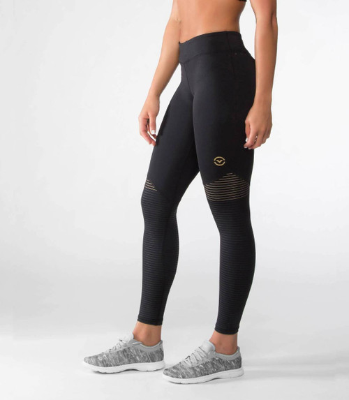 VIRUS WOMEN'S EAU7X | BIOCERAMIC™ COMPRESSION PANT | BLACK/GOLD  WWW.BATTLEBOXUK.COM