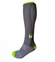 Hylete Cross Training knee high performance compression socks 1.0 (Gun Metal/Neon Green)