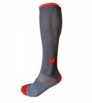Hylete Cross Training knee high performance compression socks 1.0 (Gun Metal/Shocking Red)