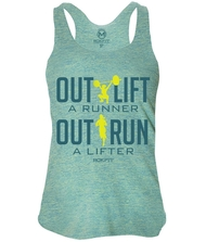 RokFit Outlift a Runner Outrun a Lifter Tri-Lemon Tank
