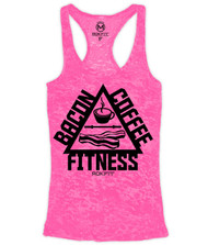 CrossTrainingUk.co.uk - RokFit THE TRIFECTA - Bacon, Coffee & Fitness Pink Tank Top Women