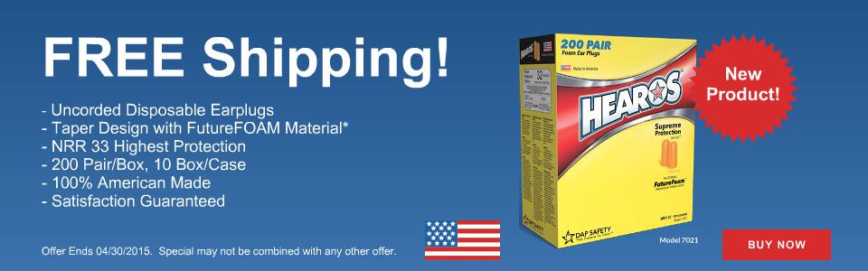 FREE Shipping on Hearos Disposable Earplug!