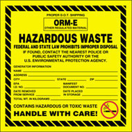 Accuform MHZW06 ORM E Hazardous Waste Label