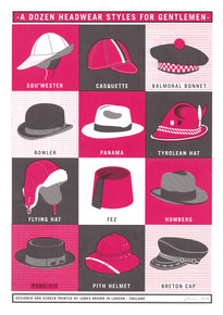 A Dozen Headwear Styles for Gentlemen - Limited Edition Print