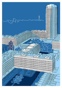 Steel Blue Barbican - Limited Edition Print