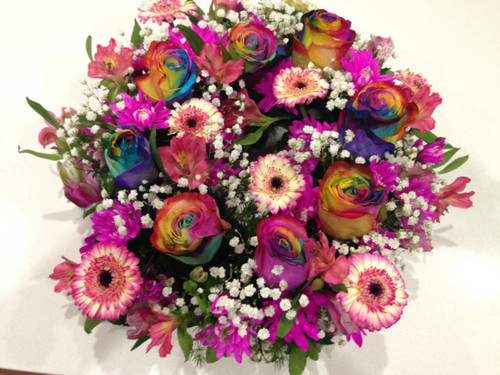 Ggs flowers socially sustainable florist canberra radiant rainbow wreath fandeluxe Image collections